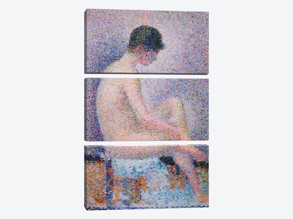 Model In Profile, 1886 by Georges Seurat 3-piece Canvas Art Print