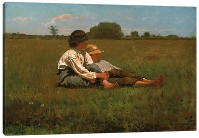 Boys In a Pasture, 1874 Canvas Art Print