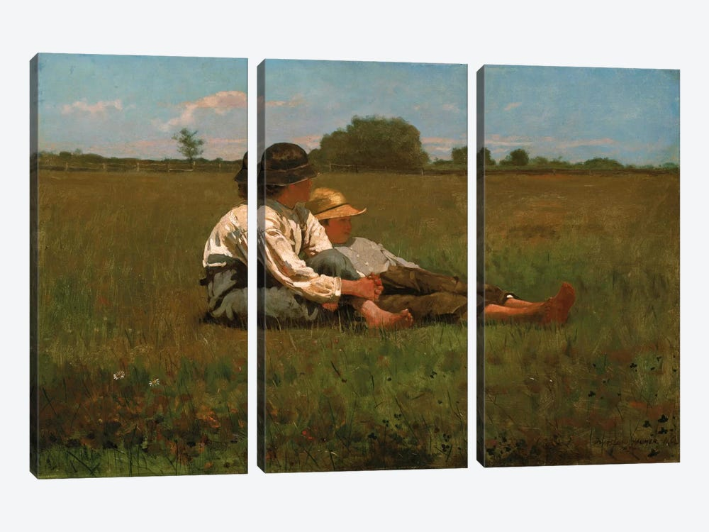 Boys In a Pasture, 1874 by Winslow Homer 3-piece Canvas Wall Art
