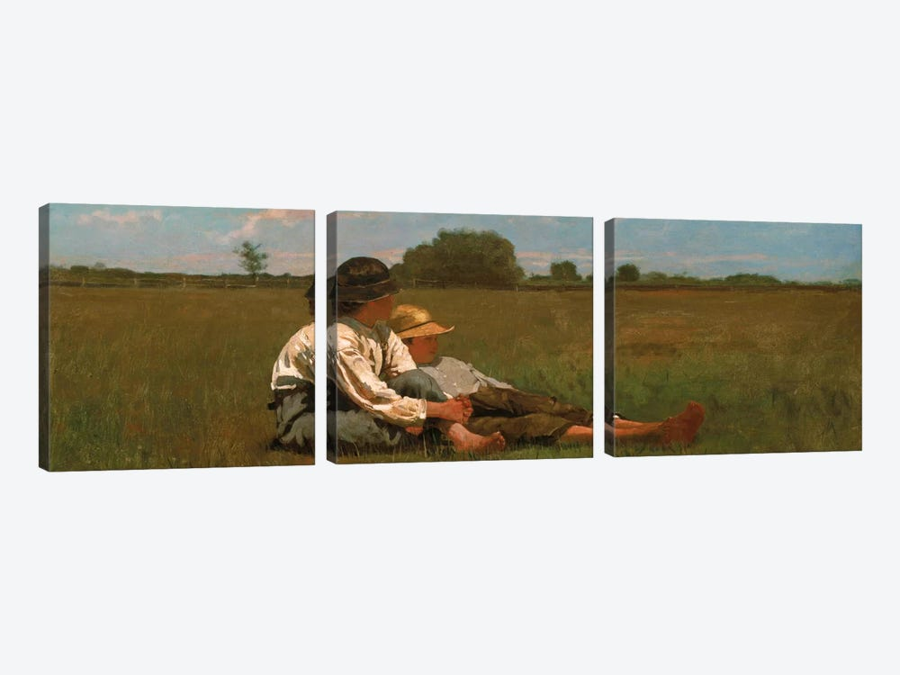 Boys In a Pasture by Winslow Homer 3-piece Canvas Art Print