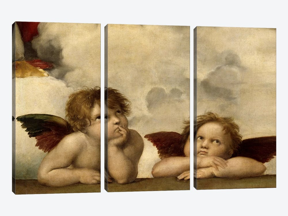 The Two Angels by Raphael 3-piece Canvas Art Print