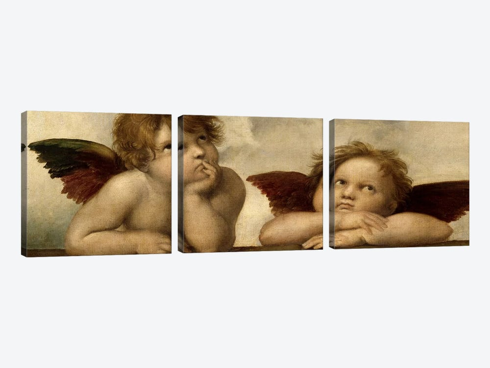 The Two Angels by Raphael 3-piece Canvas Print