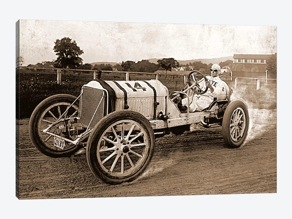 Vintage Photo Race Car by Unknown Artist 1-piece Canvas Wall Art