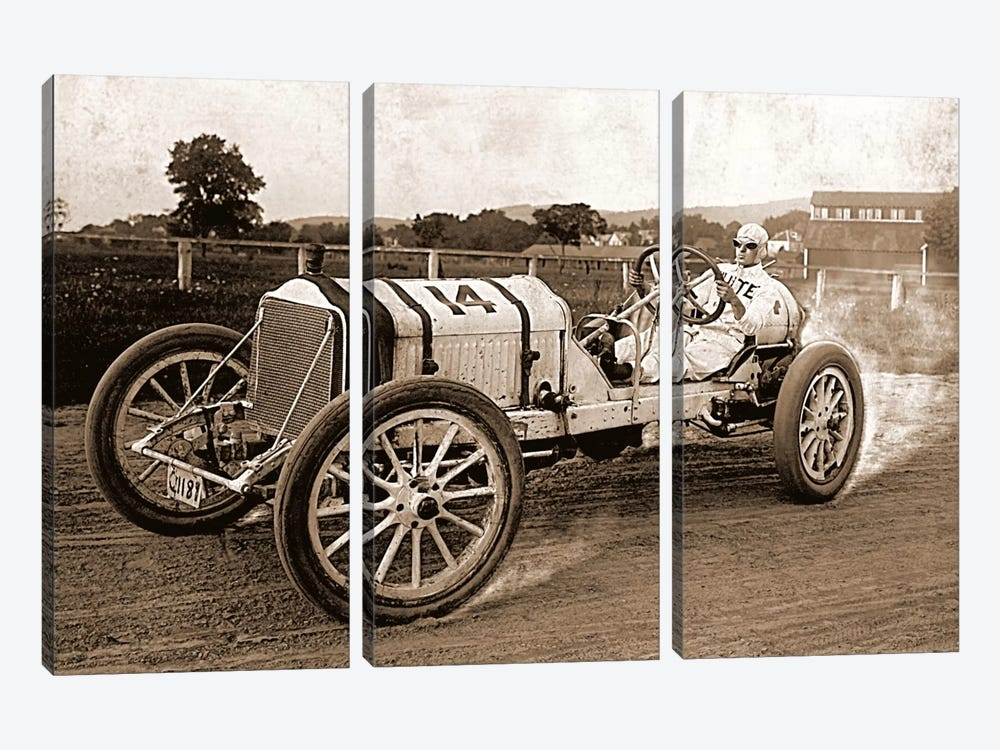 Vintage Photo Race Car by Unknown Artist 3-piece Canvas Artwork