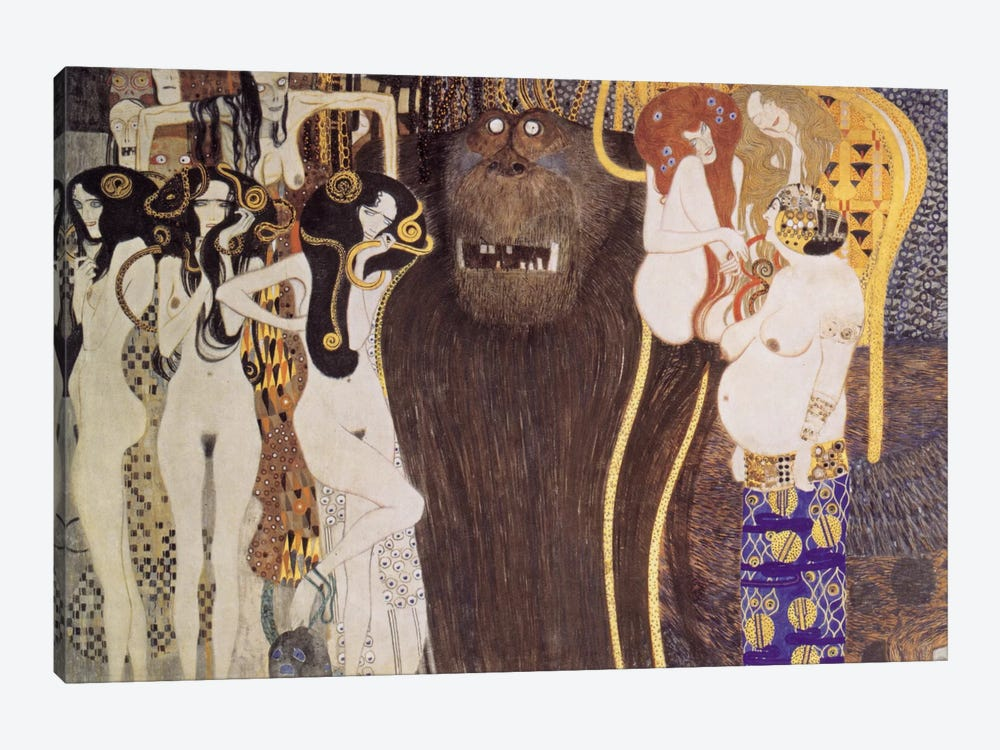 Die feindlichen Gewalten (The Hostile Forces) by Gustav Klimt 1-piece Canvas Art Print