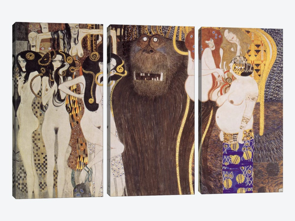 Die feindlichen Gewalten (The Hostile Forces) by Gustav Klimt 3-piece Canvas Print