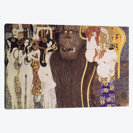 Die feindlichen Gewalten (The Hostile Forces) Canvas Print #14009} by Gustav Klimt Canvas Art Print