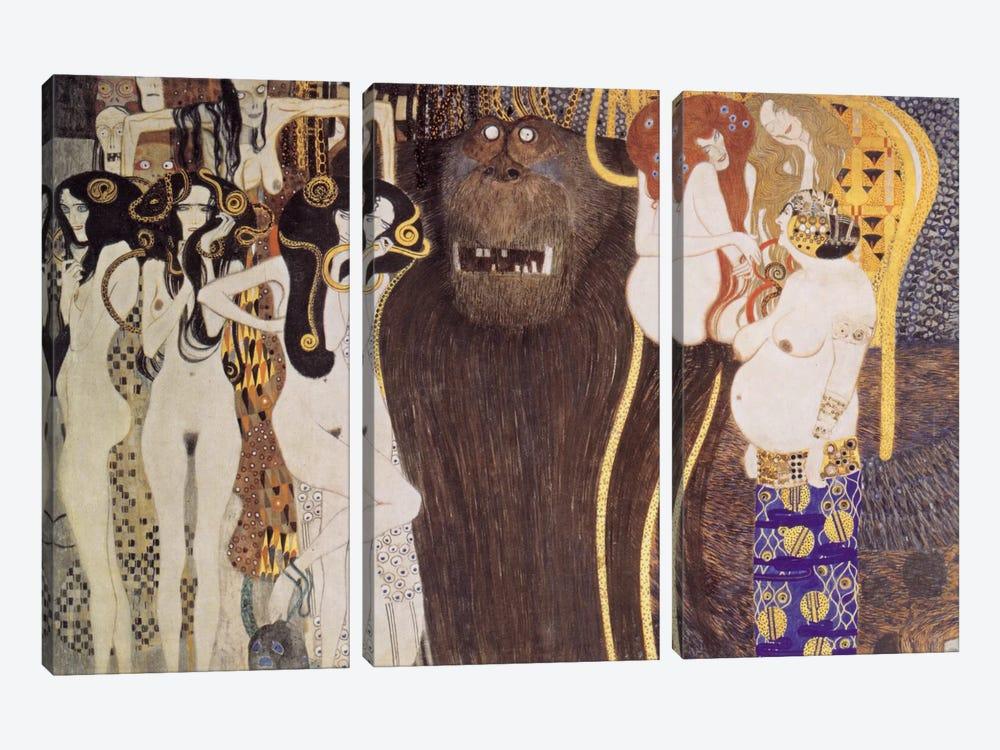 Die feindlichen Gewalten (The Hostile Forces) by Gustav Klimt 3-piece Canvas Print