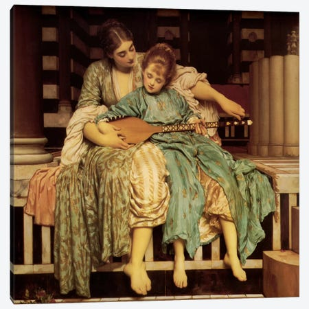 The Music Lesson Canvas Print #1400} by Frederic Leighton Canvas Artwork
