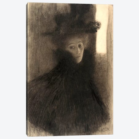 Portrait of a Lady with Cape and Hat Canvas Print #14011} by Gustav Klimt Canvas Art