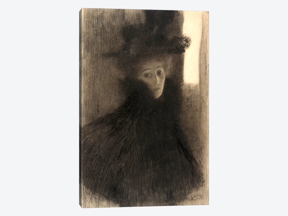 Portrait of a Lady with Cape and Hat by Gustav Klimt 1-piece Canvas Artwork