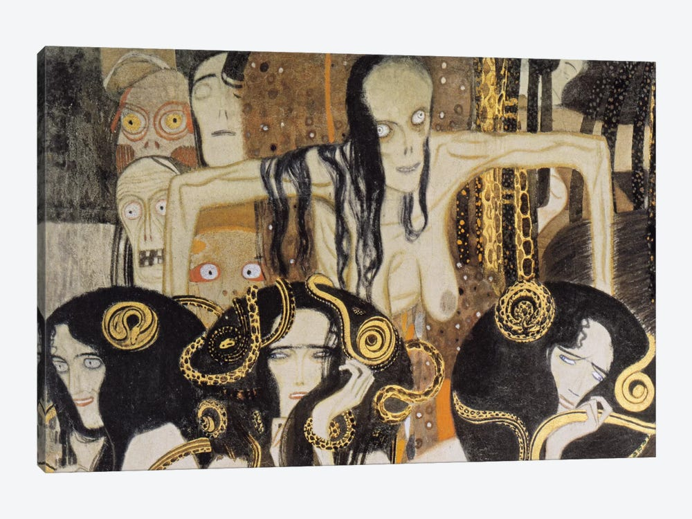 Gorgonen 3 (The Three Gorgones: Sickness, Madness, Death) by Gustav Klimt 1-piece Canvas Art