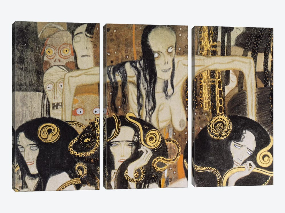 Gorgonen 3 (The Three Gorgones: Sickness, Madness, Death) by Gustav Klimt 3-piece Canvas Wall Art