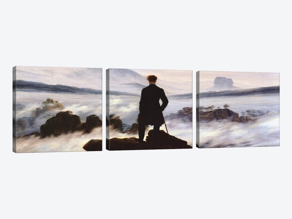 The Wanderer Above The Sea of Fog by Caspar David Friedrich 3-piece Canvas Art Print