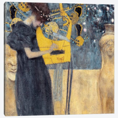 Musik 1895 Canvas Print #14037} by Gustav Klimt Canvas Art Print