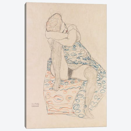 Seated Figure with Gathered Up Skirt Canvas Print #14044} by Gustav Klimt Canvas Artwork