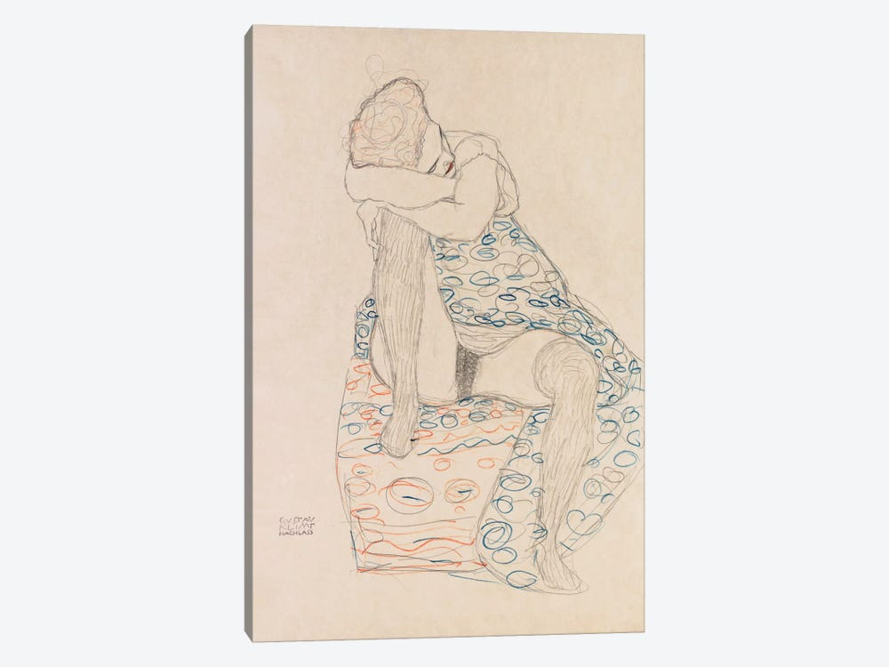 Seated Figure with Gathered Up Skirt by Gustav Klimt 1-piece Canvas Artwork