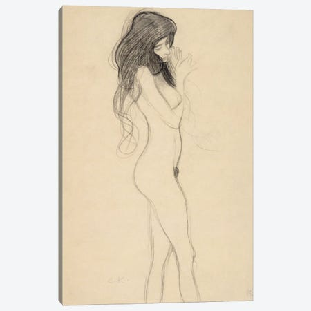 Stehender Frauenakt nach rechts (Standing Female Nude from the Front) Canvas Print #14046} by Gustav Klimt Canvas Artwork