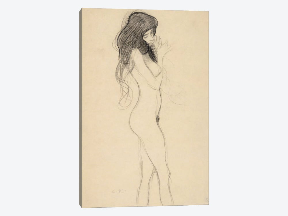 Stehender Frauenakt nach rechts (Standing Female Nude from the Front) by Gustav Klimt 1-piece Canvas Artwork
