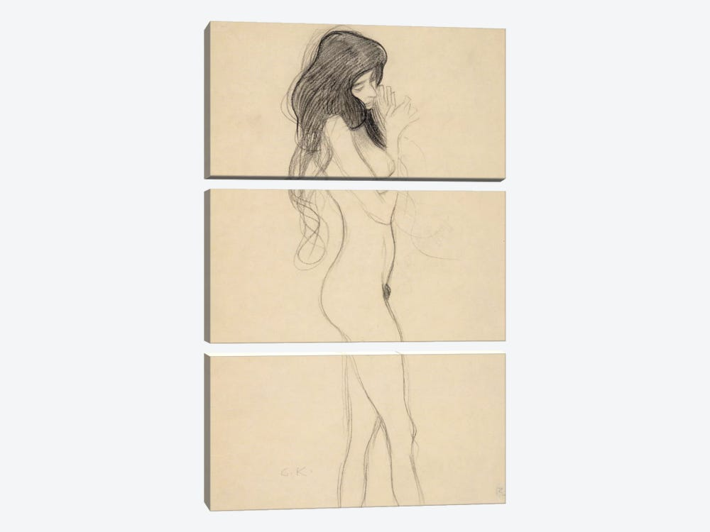 Stehender Frauenakt nach rechts (Standing Female Nude from the Front) by Gustav Klimt 3-piece Canvas Artwork