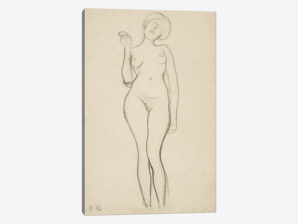 Stehender Frauenakt von vorne mit erhobenem rechtem Arm (Standing Femal Nude With Raised Right Arm) by Gustav Klimt 1-piece Art Print