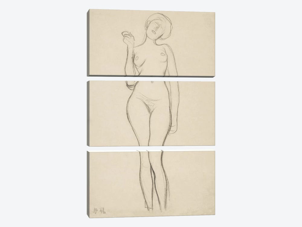 Stehender Frauenakt von vorne mit erhobenem rechtem Arm (Standing Femal Nude With Raised Right Arm) by Gustav Klimt 3-piece Canvas Print