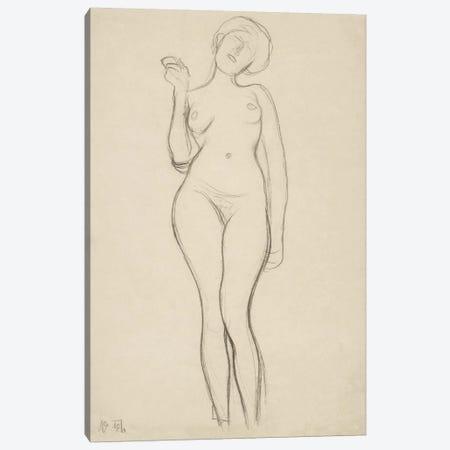 Stehender Frauenakt von vorne mit erhobenem rechtem Arm (Standing Femal Nude With Raised Right Arm) Canvas Print #14047} by Gustav Klimt Canvas Artwork