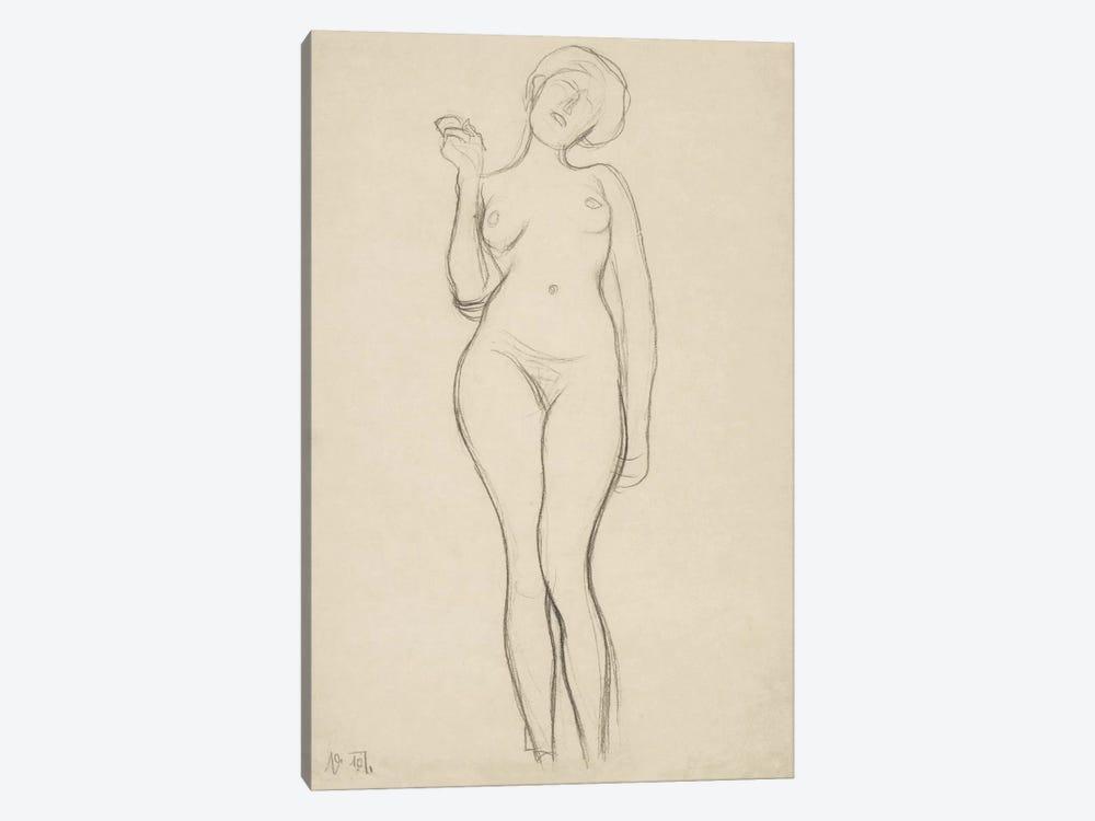 Stehender Frauenakt von vorne mit erhobenem rechtem Arm (Standing Femal Nude With Raised Right Arm) by Gustav Klimt 1-piece Art Print