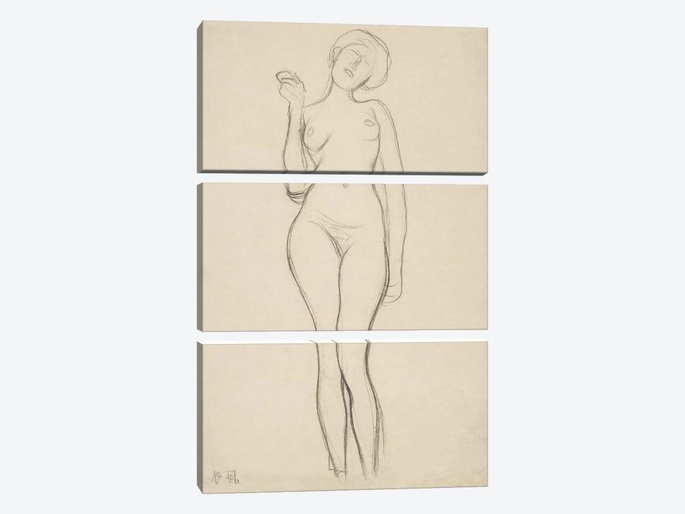 Stehender Frauenakt von vorne mit erhobenem rechtem Arm (Standing Femal Nude With Raised Right Arm) by Gustav Klimt 3-piece Canvas Print
