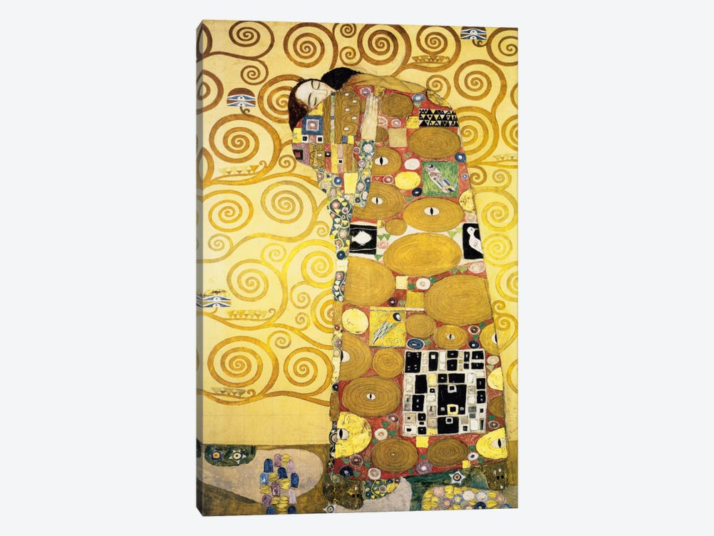 The Embrace, Stoclet Frieze Panel, 1905-11 by Gustav Klimt 1-piece Canvas Artwork