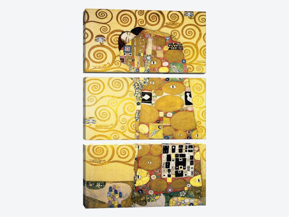 The Embrace, Stoclet Frieze Panel, 1905-11 by Gustav Klimt 3-piece Canvas Artwork