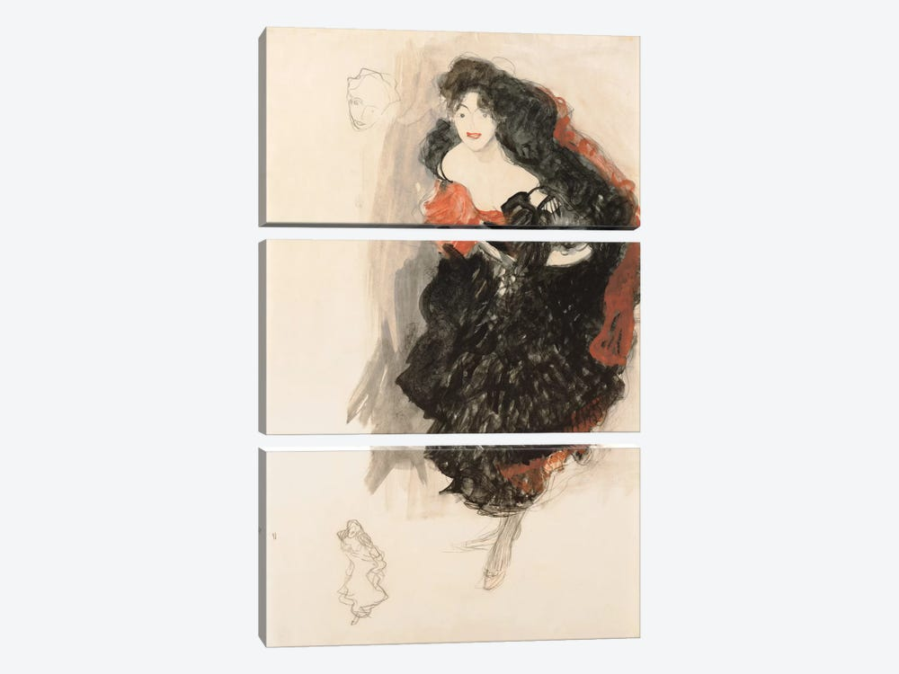 Study for Judith ll by Gustav Klimt 3-piece Art Print