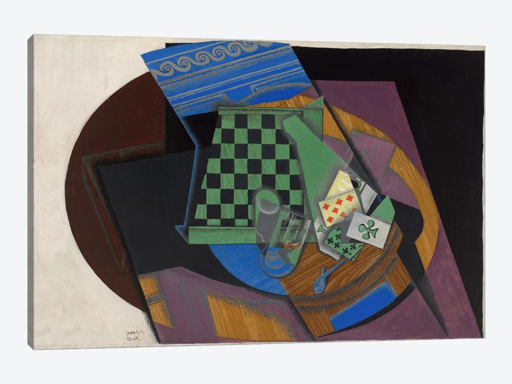 Damier et Cartes a Jouer (Checkerboard and Playing Cards) 1-piece Canvas Art
