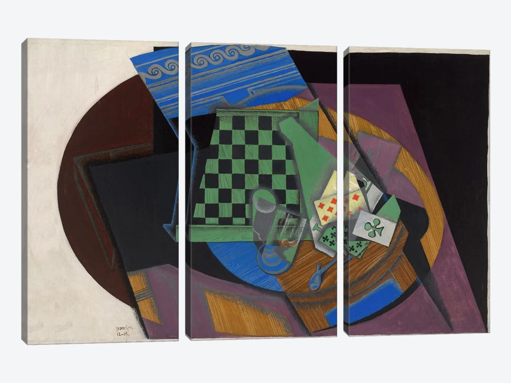 Damier et Cartes a Jouer (Checkerboard and Playing Cards) 3-piece Canvas Art