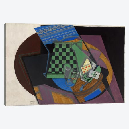 Damier et Cartes a Jouer (Checkerboard and Playing Cards) Canvas Print #14060} by Juan Gris Canvas Print