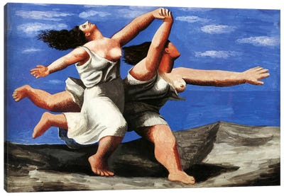 Two Women Running on the Beach Canvas Art Print