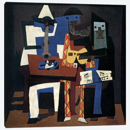 Three Musicians Canvas Print #14100} by Pablo Picasso Canvas Artwork