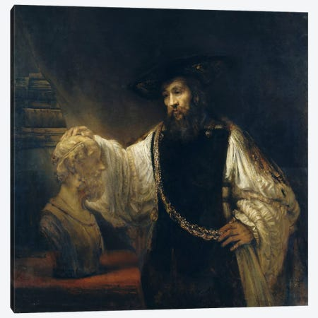 Aristotle Comtemplating the Bust of Homer or Aristotle with a Bust of Homer Canvas Print #14111} by Rembrandt van Rijn Canvas Print