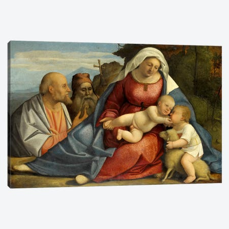 Madonna and Child, Little John the Baptist, Peter and Anthony the Hermit Canvas Print #14112} by Unknown Artist Canvas Print