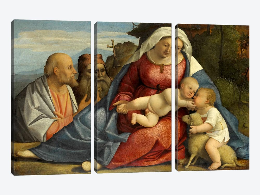 Madonna and Child, Little John the Baptist, Peter and Anthony the Hermit by Unknown Artist 3-piece Canvas Art
