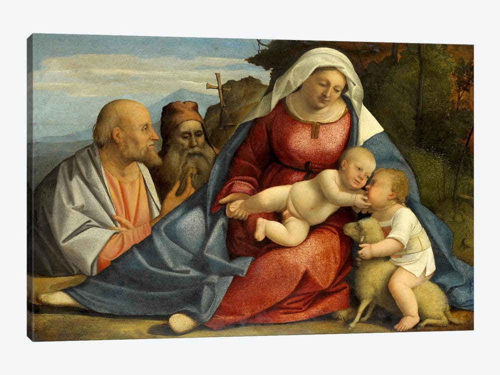 Madonna and Child, Little John the Baptist, Peter and Anthony the Hermit by Unknown Artist 1-piece Canvas Wall Art