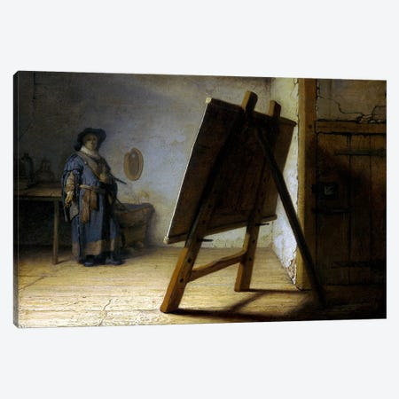The Artist in His Studio Canvas Print #14117} by Rembrandt van Rijn Canvas Artwork