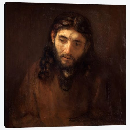 Head of Christ Canvas Print #14125} by Rembrandt van Rijn Art Print