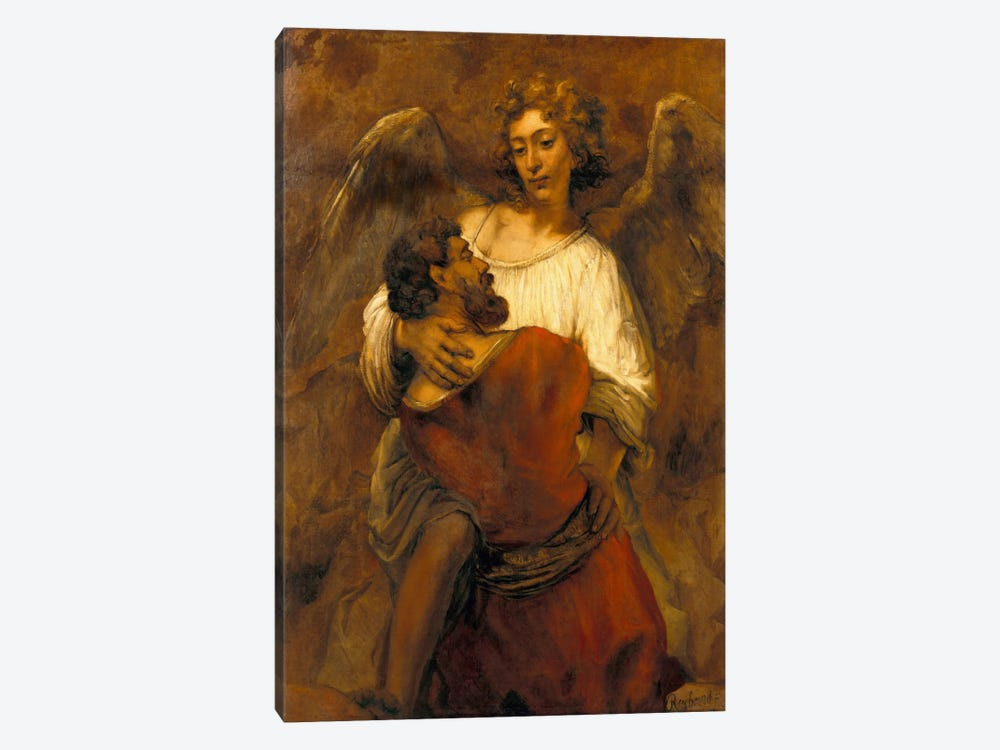Jacob Wrestling with an Angel by Rembrandt van Rijn 1-piece Canvas Print
