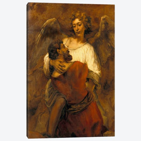 Jacob Wrestling with an Angel Canvas Print #14126} by Rembrandt van Rijn Canvas Print