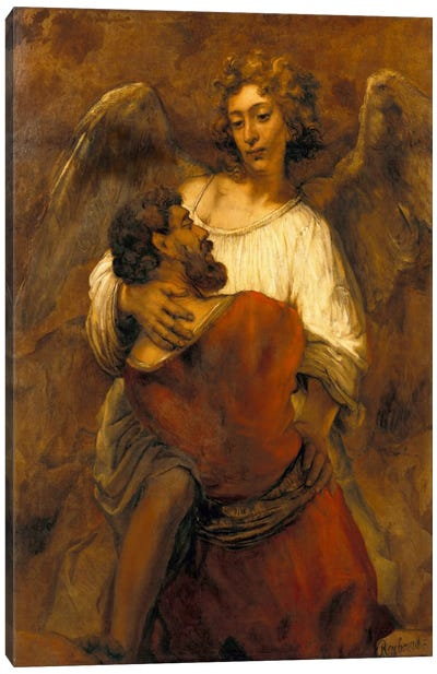 Jacob Wrestling with an Angel Canvas Art Print