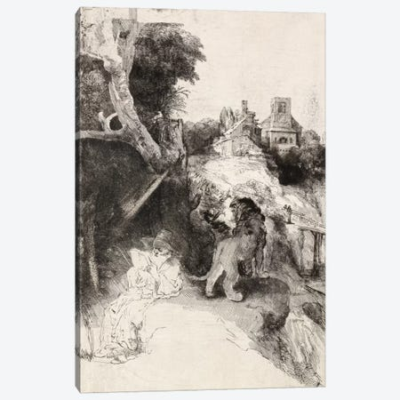 Saint Jerome Reading in an Italian Landscape Canvas Print #14134} by Rembrandt van Rijn Canvas Artwork