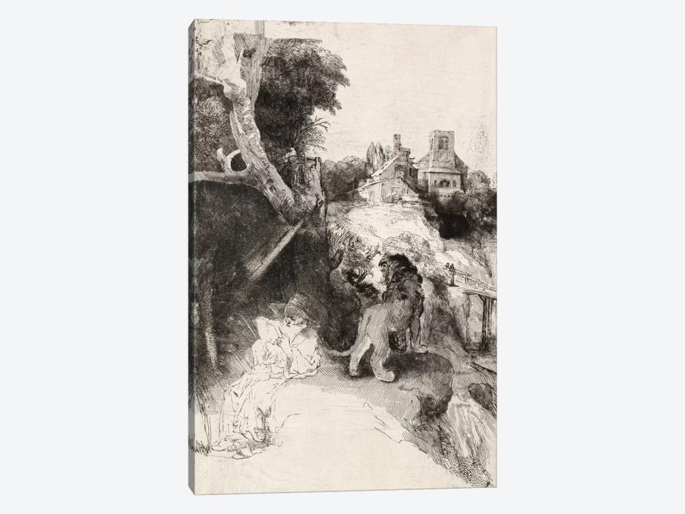 Saint Jerome Reading in an Italian Landscape by Rembrandt van Rijn 1-piece Canvas Artwork