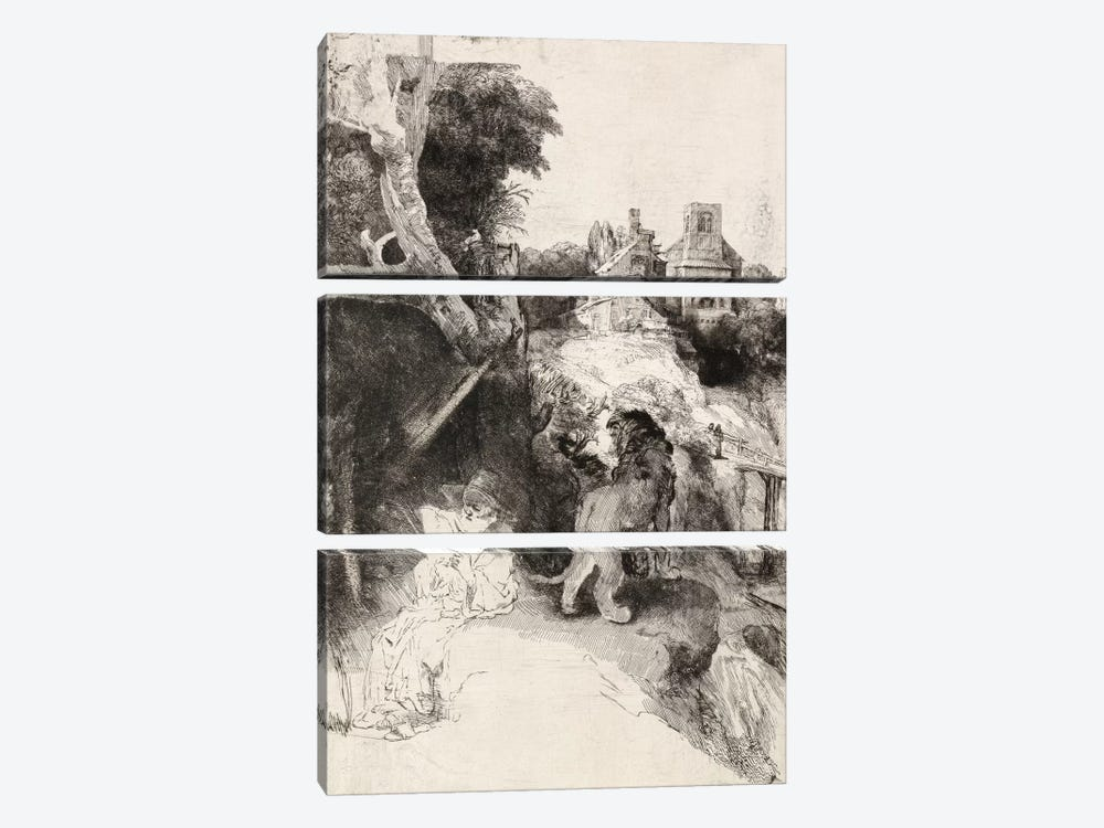 Saint Jerome Reading in an Italian Landscape by Rembrandt van Rijn 3-piece Canvas Art