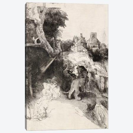 Saint Jerome Reading in an Italian Landscape Canvas Print #14134} by Rembrandt van Rijn Canvas Artwork